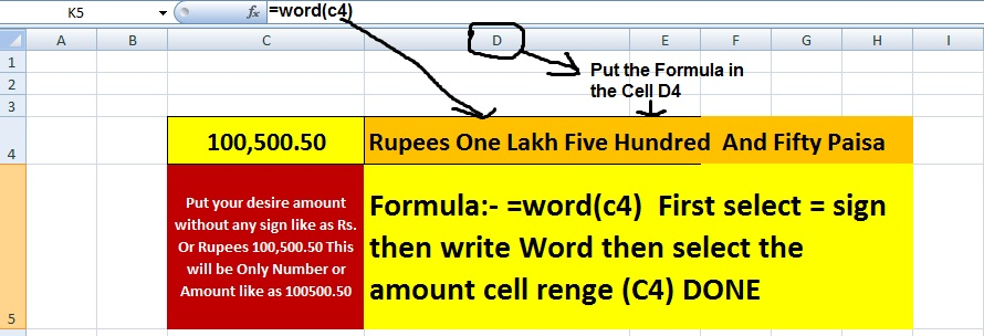 Number to in word converter in Excel