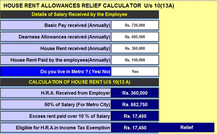 Income Tax H.R.A. Calculator