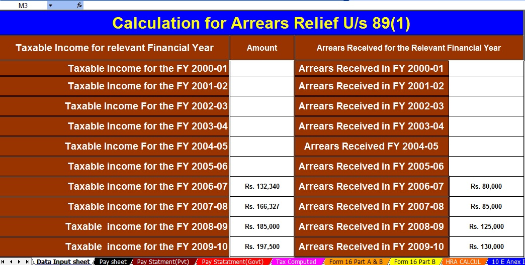 Automated Income Tax Arrears Relief Calculator U/s 89(1) with Form 10E for the F.Y.2020-21